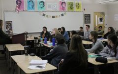 "While discussing the different archetypes present in ""A Doll's House"" by Henrik Ibsen, Jan. 17, students in Mrs. Emilie Cavolt's third period Honors LA III find biblical allusions in the play. By discussing and annotating the text, students gain a better understanding. Photo by Anjani Kedia"