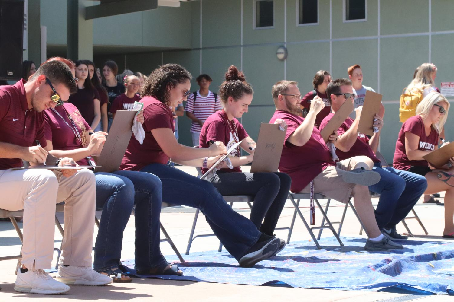 At the Aug. 23 LTA, new teachers and staff members participate in a game to introduce themselves. Photo by Sofia McMaster.