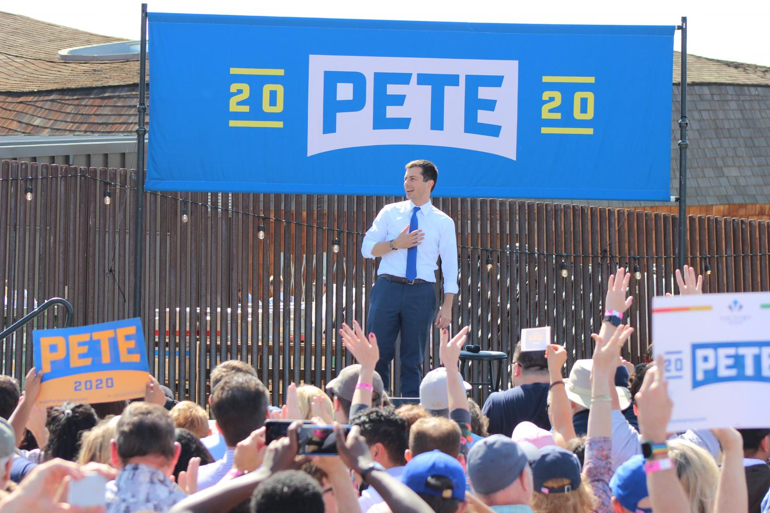 Presidential candidate Pete Buttigieg introduces himself to the crowd Sept. 29 in West Sacramento before participating in an audience-led question and answer session. The 37-year-old candidate and mayor of South Bend, Ind. spent 90 minutes on site for the