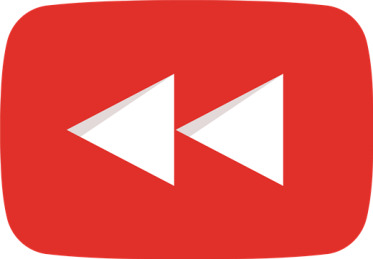 The YouTube Rewind logo presented every flashback video YouTube creates. Logo from Wikimedia Commons, permission under fair use.