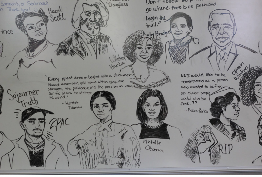 To+Celebrate+Black+History+Month%2C+students+drew+famous+African+American+historical+figures+on+the+whiteboard+in+Mrs.+Leah+Seabrook%E2%80%99s+room.+Photo+by+Brenden+Jacoby