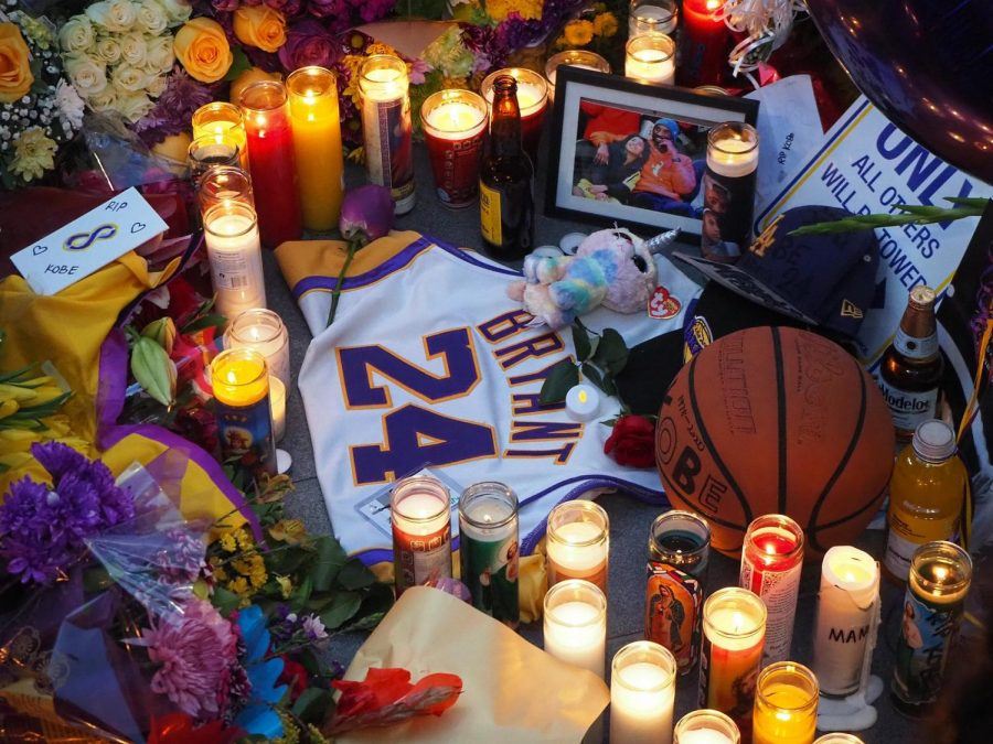 Outside+of+the+Staples+Center%2C+fans+leave+memorabilia+and+candles+as+a+tribute+at+Kobe+Bryant%E2%80%99s+memorial+service
