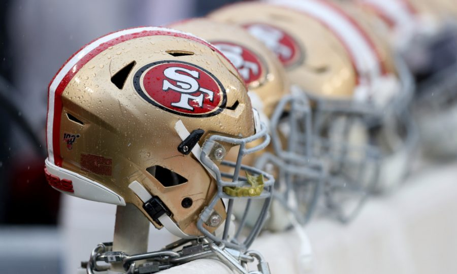 Helmets+of+the+San+Francisco+49ers.+Photo+by+NinersWire%2C+image+used+with+permission.