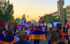 Local Armenian people gather in Sacramento on Oct. 5 to protest and spread awareness about the recent conflicts between Armenia and Azerbaijan. Photo by Diana Sahakyan