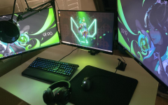 Najeeb Khan's three-monitor gaming setup, which he uses to compete for Valorant Esports games, competitions and scrimmages. Photo by Najeeb Khan.