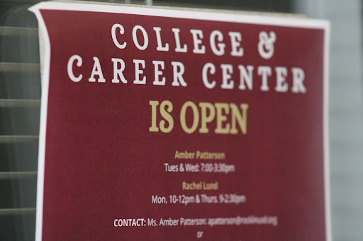 The College and Career Center is open in a new location: the library. Technicians Mrs. Amber Patterson and Rachel Lund are available to help students with concerns regarding applications. Photo by Zoe Cloud.